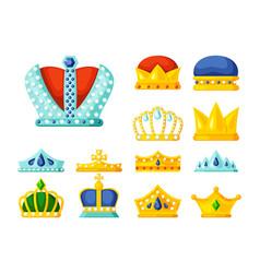 crowns luxury monarch symbols power golden vector image
