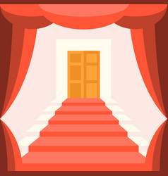 curtain staircase and door vector image