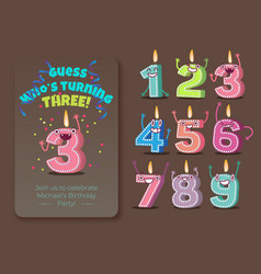 cute birthday candle number characters vector image
