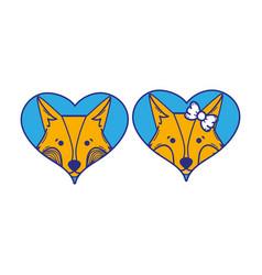 cute fox couple animal inside the hearts vector image