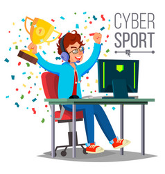 cyber sport player playing computer game vector image