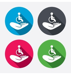 Disabled human insurance sign wheelchair man vector