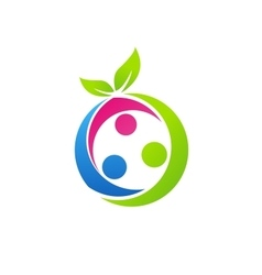 family health concept logo nutrition fruit symbol vector image