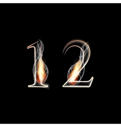 Fire and Smoke font Numbers 1 2 vector image