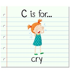 Flashcard alphabet c is for crying vector image