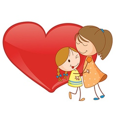 Girls and heart vector