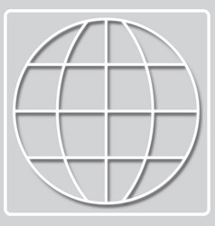 Gray icon with white silhouette meridian vector