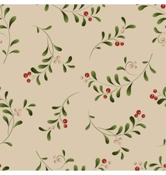 Green sprig with red berries seamless Christmas vector image