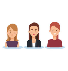Group of young women poses and styles vector