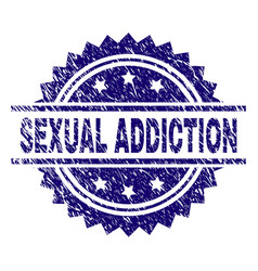 Grunge textured sexual addiction stamp seal vector