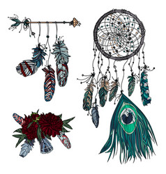 Hand drawn dreamcatcher ethnic arrow and bouquet vector