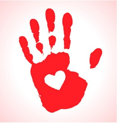Hand print with heart icon vector