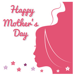 Happy mothers day card pink silhouette woman and vector