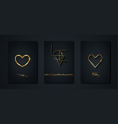 happy mothers day set gold black card vector image