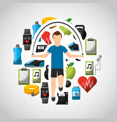 Healthy lifestyle concept icons vector