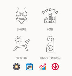 Hotel lingerie and beach deck chair icons vector