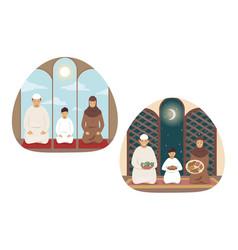 Islam prayer family religion set concept vector