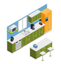 Kitchen furniture isometric composition vector