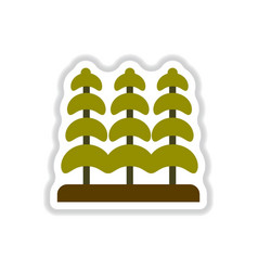 Labels with shadow flat icon tree silhouette vector