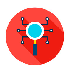 Magnifying glass microchip circle icon vector