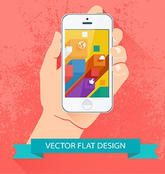 Male hand holding smartphone flat design vector image