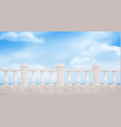 Marble balustrade on blue cloudy sky background vector
