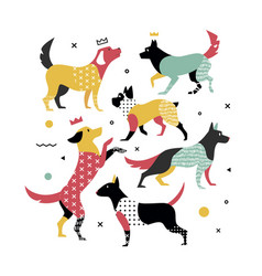 memphis dogs for the cover on the notebook vector image
