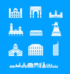 Milan italy city skyline icons set simple style vector