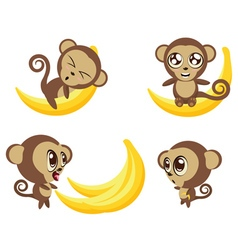 Monkey with Banana vector