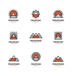Mono line mountain icon set vector