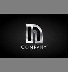 n silver metal alphabet letter icon design vector image