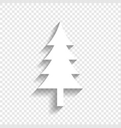 new year tree sign white icon with soft vector image