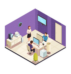 office isometric composition vector image