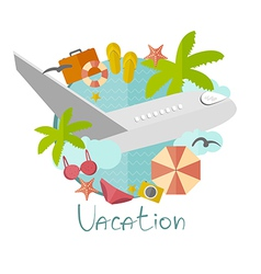 on vacation in a flat minimalist style vector image