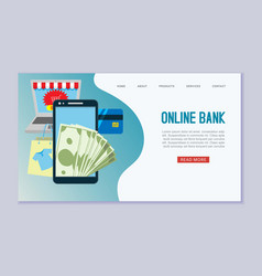 online bank web template flat vector image