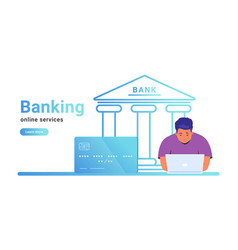 online banking for checking account investing and vector image