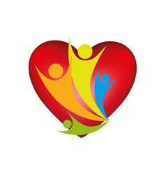 People family together inside heart icon vector