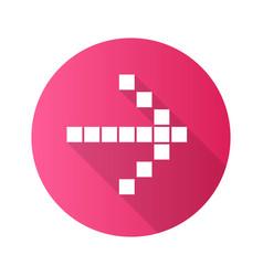 Pixel arrow flat design long shadow glyph icon vector