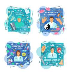 Posters of healthcare medicine and doctors vector
