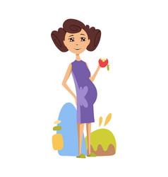 pregnant woman eating an apple in a purple dress vector image