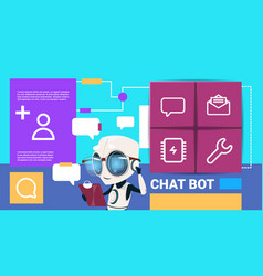 Robot with tablet messenger chat bot application vector