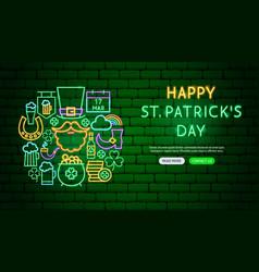 saint patrick day neon banner design vector image