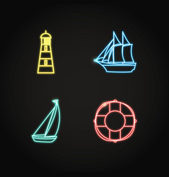 sea collection of ship and nautical icons in vector image