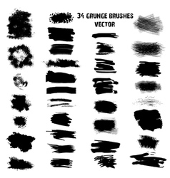 Set of 34 different grunge brush strokes vector image