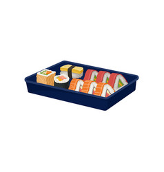 Set of sushi rolls in blue tray traditional asian vector