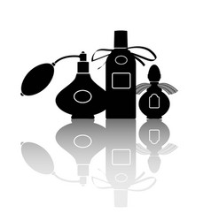 silhouettes of three perfumes vector image