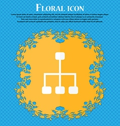 social network icon Floral flat design on a blue vector image