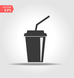 soda with straw icon drink icon in flat design vector image