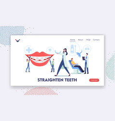 Straighten teeth landing page template dentist vector