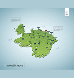 stylized map ireland isometric 3d green map vector image